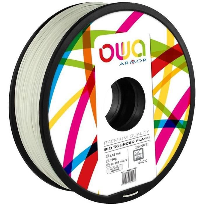 OWA Bobine de Filaments pour imprimante 3D - PLA Hi - Naturel