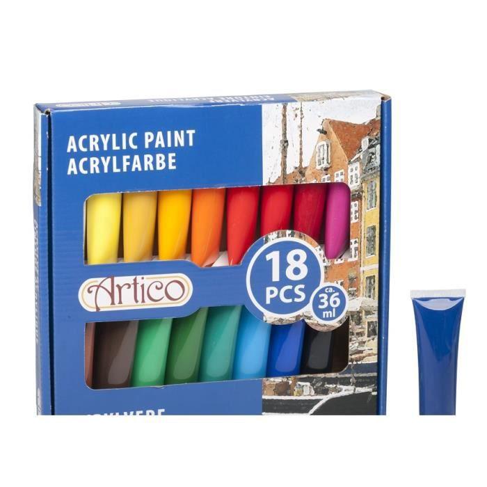coffret 18 tubes de 36ml de peinture acrylique achat vente peinture acrylique coffret 18. Black Bedroom Furniture Sets. Home Design Ideas
