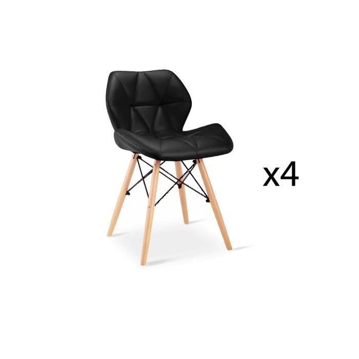 chaise lot de 4 chaises noir scandinave pieds en bois - Chaise Scandinave Cuir