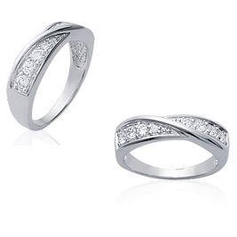 Bague argent rhodié-diamants