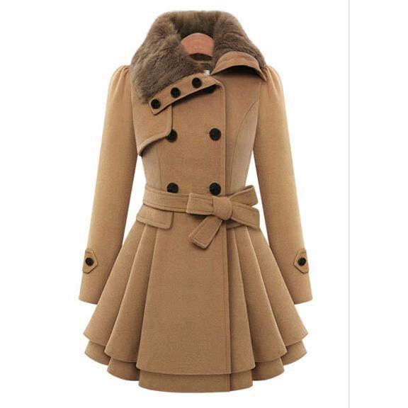 60e237d91c95 Wecheers®Nouveau Femme Hiver chaude trench coat... Brun clair ...