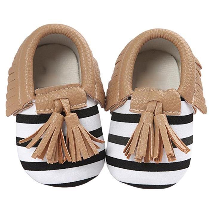 Bodhi@ Infant Toddler bébé garçons filles pompon semelle souple PU Chaussures Marron 6-12 mois JZnLUnp