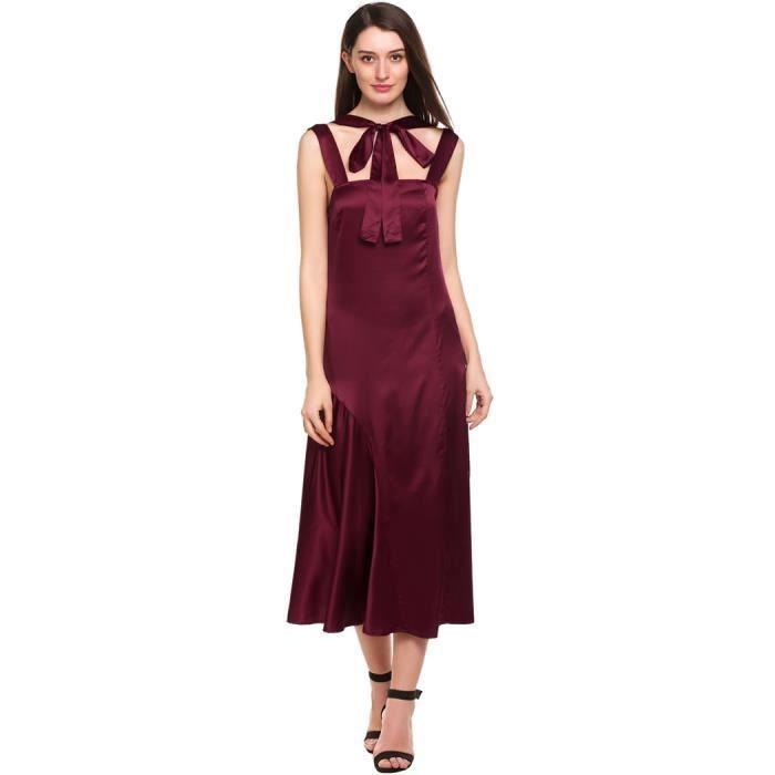 Femmes robe Slim Casual sans manches Uni Square Neck Pullover
