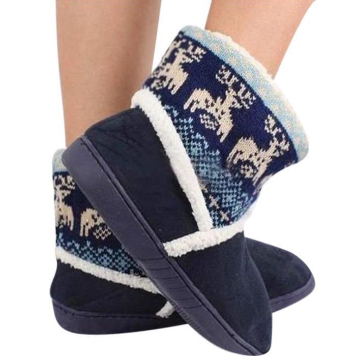 bottes femmes Snow Boots Christmas Deer Femmes hiver De Noel Cerfs Motif de Neige Coton-rembourré Chaussures Femme