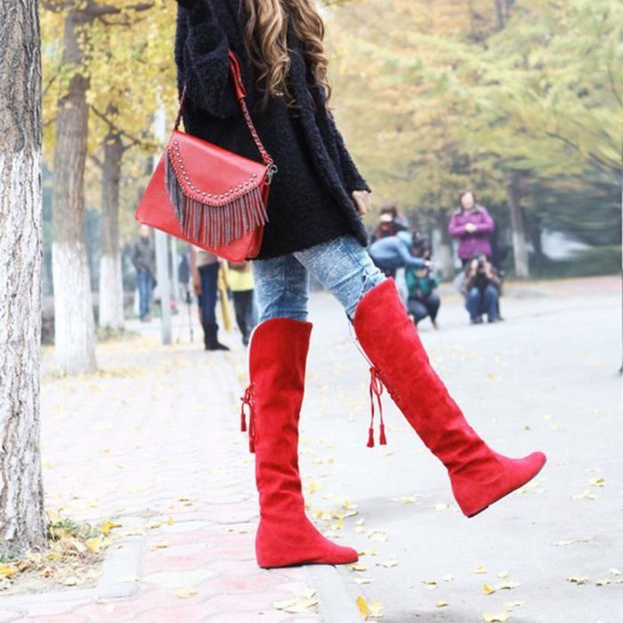 hautes RD pour femme cuire Bottes en chaudes lacets Bottes peluche en à qOfxYPnR4w