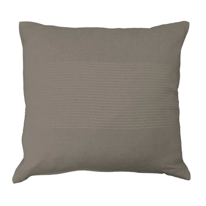 coussin taupe Housse de coussin 100 % coton 40x40 LANA taupe   Achat / Vente  coussin taupe