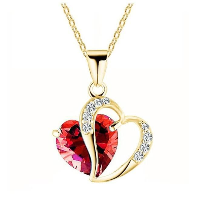 Collier double coeur cristal SWAROVSKI ELEMENTS plaqué or couleur Rouge