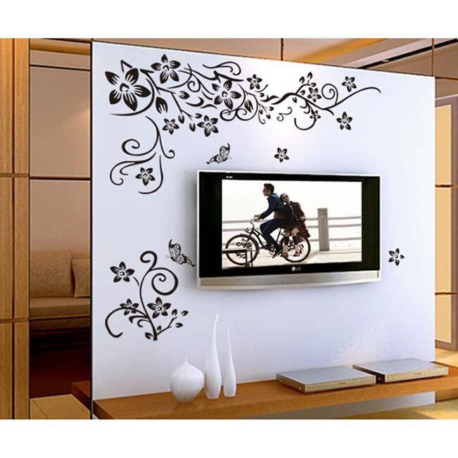 Sticker mural fleur vignes papillon d coration murale for Decoration murale fenetre