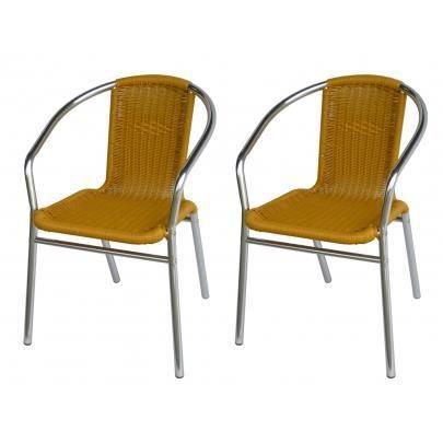 Lot de 2 chaises de jardin en aluminium et r sine achat for Lot chaise de jardin