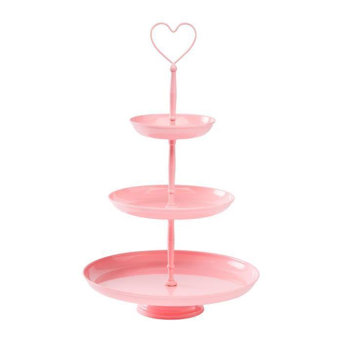 Serviteur, présentoir à gâteaux 3 niveaux métal coloris rose ...
