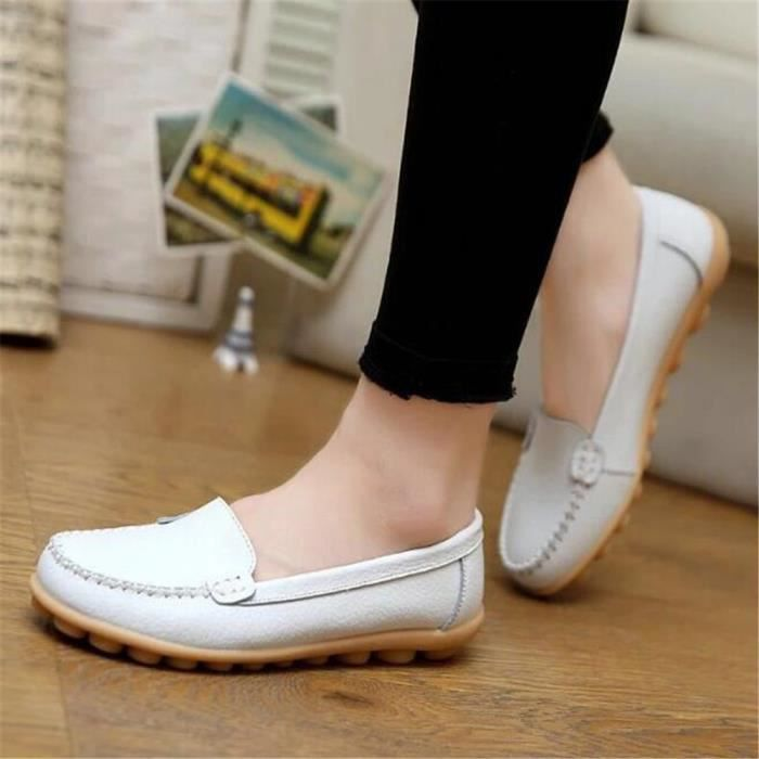 Mocassin Femmes ete Loafer Respirant Chaussures BXFP-XZ055Blanc36