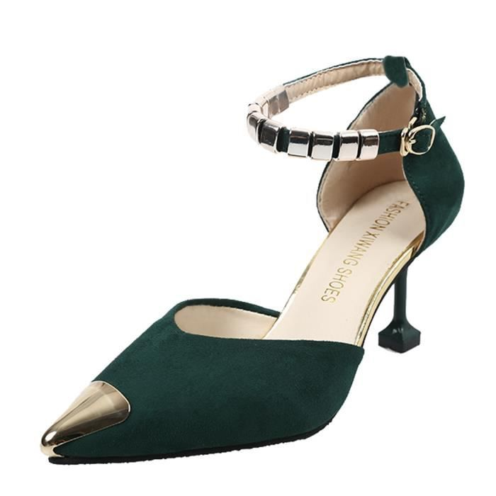 Bout Chaussures Simples Sandales Vert Casual Féminine Pointu Mode Talons Minces wPxOtnRHq