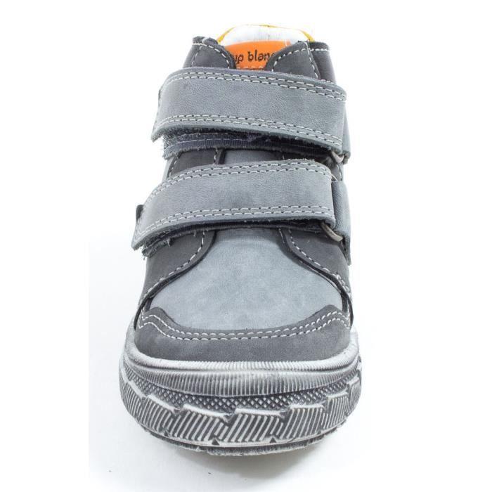 Le Loup Blanc Baskets semelle orthopédiquegarçon à scratchs HIBOU gris