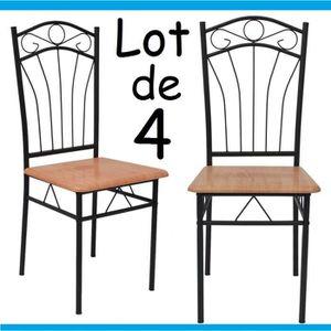 chaise fer et bois achat vente pas cher. Black Bedroom Furniture Sets. Home Design Ideas