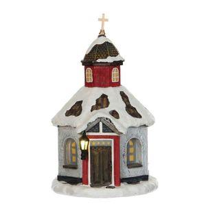 VILLAGE - MANÈGE Village de Noël - Eglise - Polyrésine - 11x12,5x18