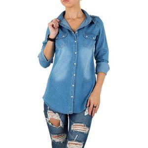 tunique Femmes Jeanschemise blousen long Jeans blouse chemiseblouse TnfvOE