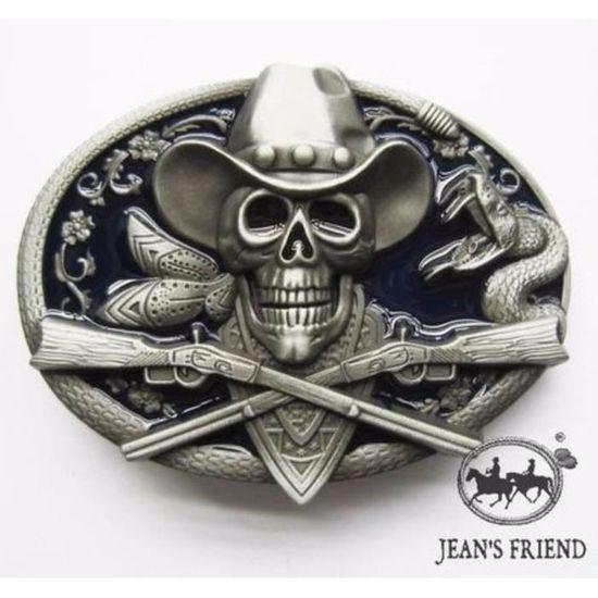 Boucle ceinture western country cowboy serpent crâne chapeau chase ... cc724ac9a46