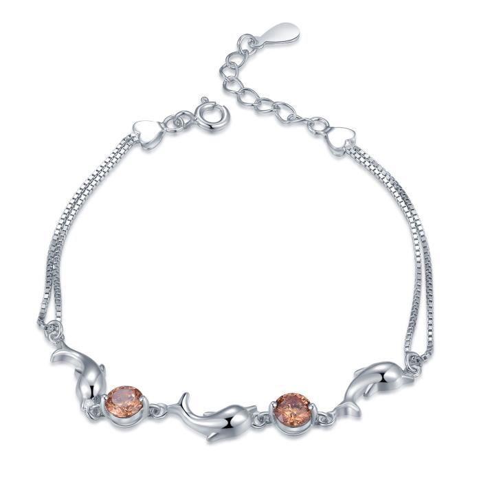MBLife Dauphin Double Chaîne Bracelet Femme Argent Sterling 925 CZ (6 Pouces) Bijoux Cadeau