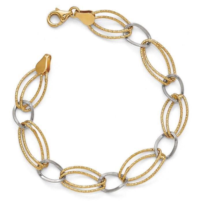Argent 925/1000–Or bicolore 18 carats-clé plaqué Bracelet 7 Motif