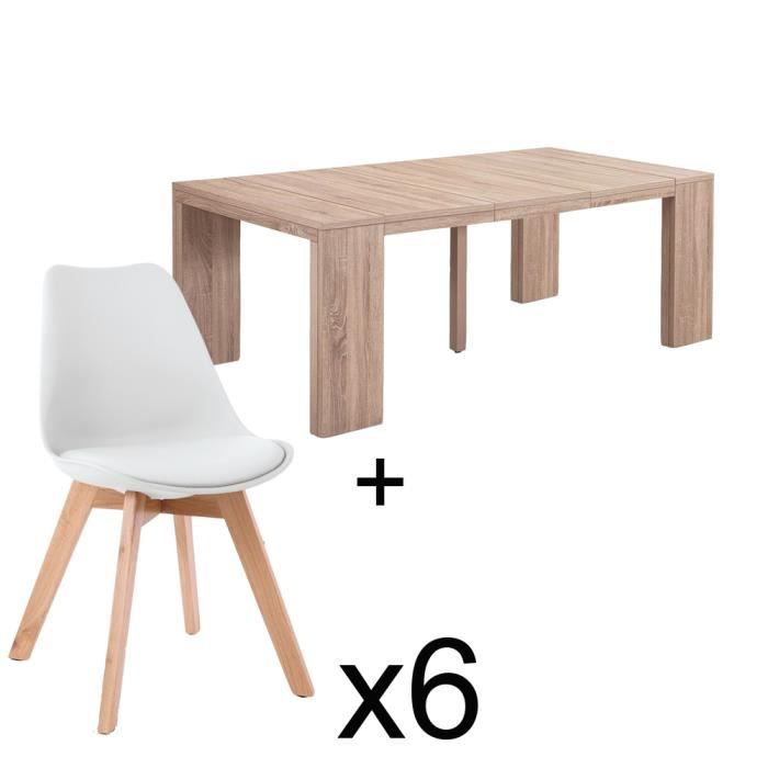 Table extensible chêne clair + 6 chaises Catherina Blanc - Achat ...