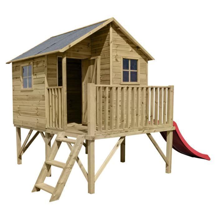 Cabane en bois luka avec toboggan achat vente maisonnette ext rieure cdiscount for Portique en bois avec toboggan