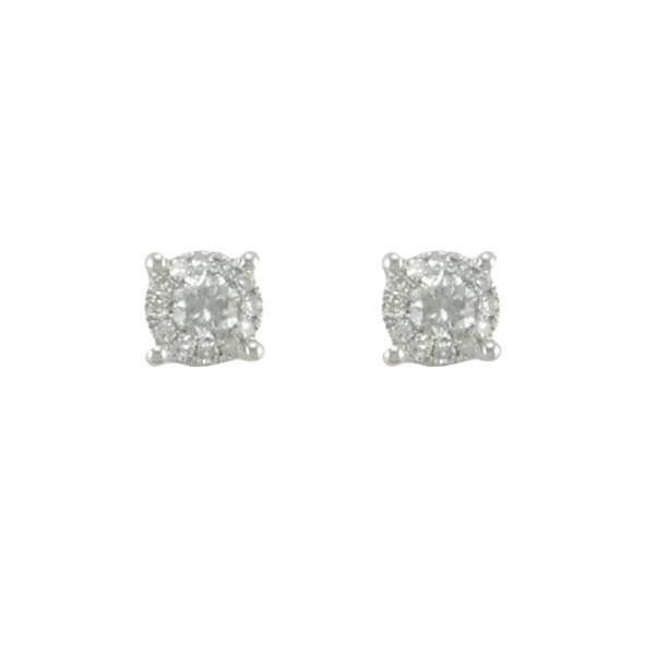 Boucles Or blanc Or:1.17 Gr Diamant:0.34 Ct