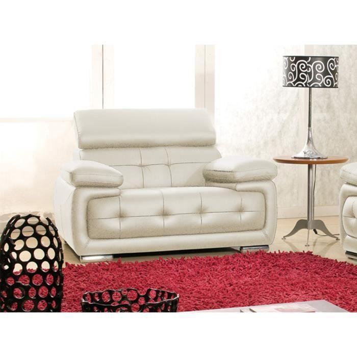 Fauteuil en cuir beige SANMARCO Achat Vente fauteuil Beige
