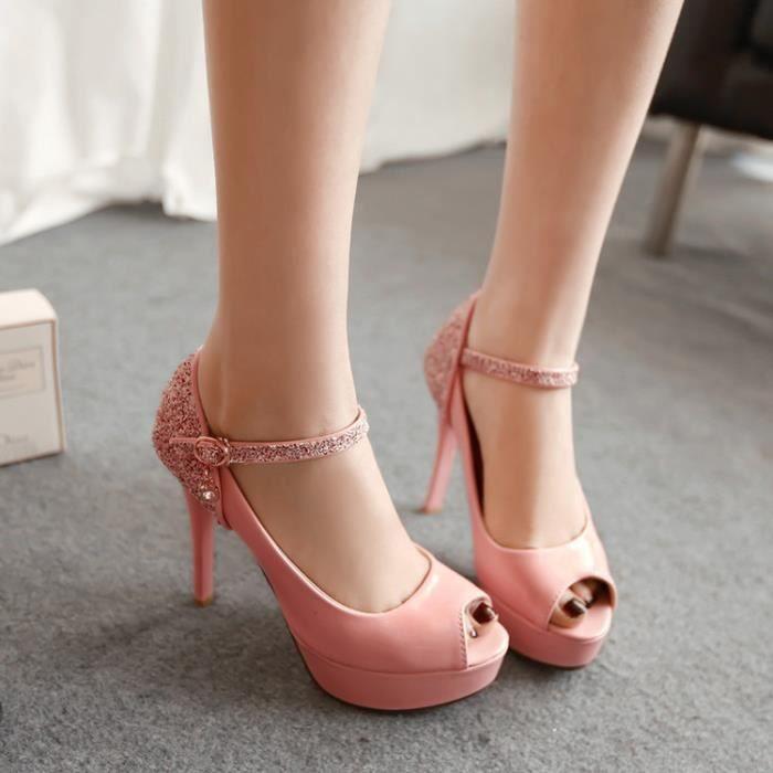 talons hauts-Pure Color High Heel Heel mince ba...