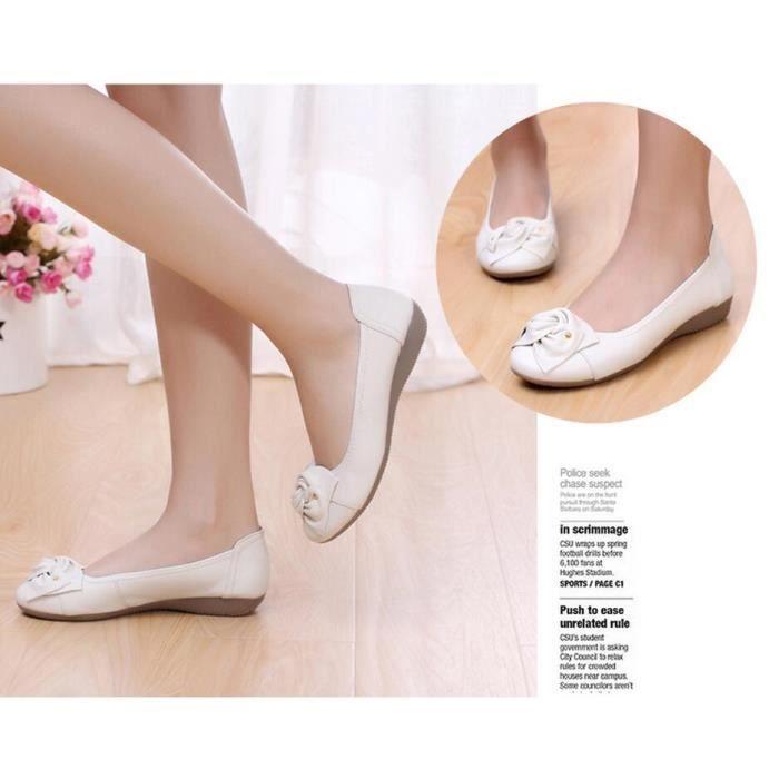 Cuir Loisirs de femmes Chaussures plates Blanc