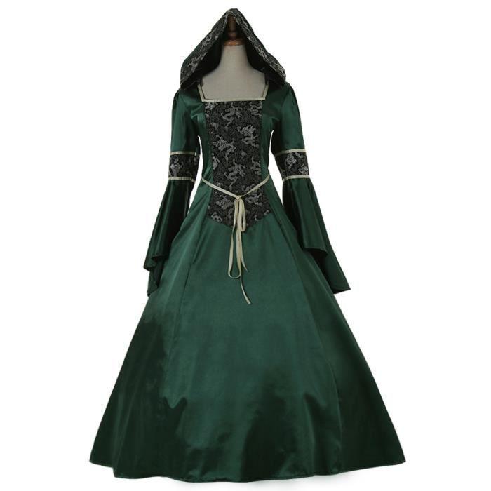 fd71fed801c Déguisement élégant Verte Robe Médiévale Renaissance Robe de Mariee ...
