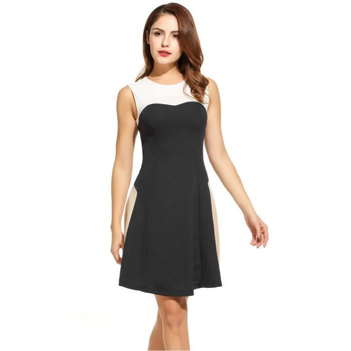 Jupe Femmes O-cou sans manches Patchwork s'adapter et Flare Cocktail Party Dress a-line