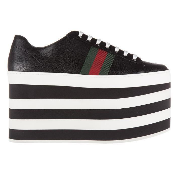 f5c898033d9bcb Chaussures baskets sneakers femme en cuir quentin plateau Gucci Noir ...