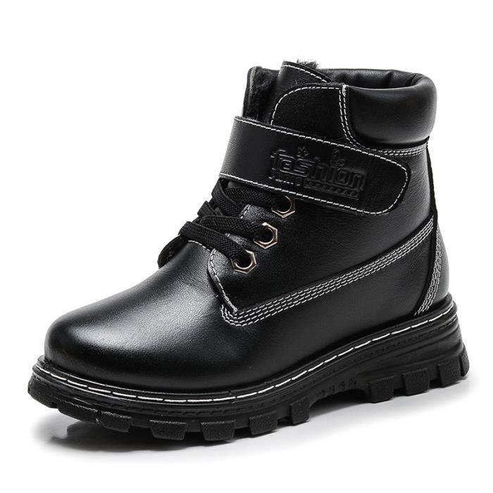 2017 nouvelles chaussures d'injection chaussures hiver coton chaussures garçons Martin bottes en cuir plus velours chaud chaussures b1DtACTw