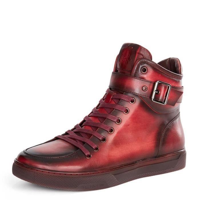 Sullivan bout rond hommes peint à la main en cuir à lacets glissière intérieure et bracelet haut-top Sneaker FAT9L Taille-46