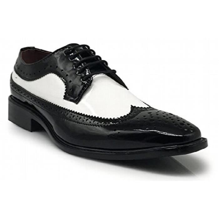 Keda03 Faux Brevet Two Tone Tuxedo Wingtip Oxfords Chaussures Lace Up Perforé Robe Awlgu Taille-39 1-2