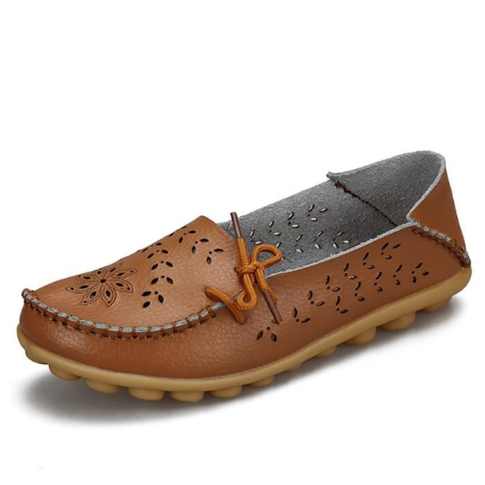 Mocassin Femmes ete Loafer Ultra Leger Respirant Chaussures BJXG-XZ051Marron35