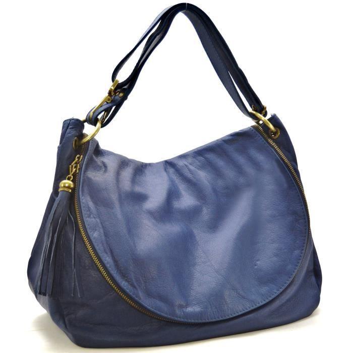 826ca1e8bb OH MY BAG Sac à Main cuir souple - Modèle 72 heures (gd modèle) bleu foncé