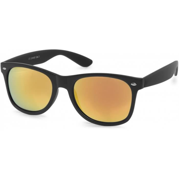 styleBREAKER lunettes de soleil style nerd à verres antireflet, design rétro classique, unisexe 09020039, couleur:Monture noire mate / verre orange-rouge
