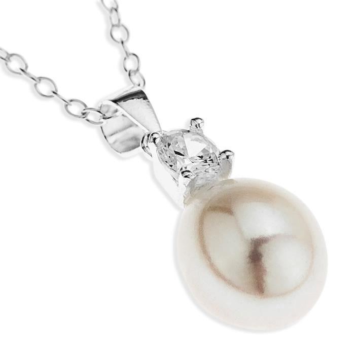 Parure Collier Et Boucles Doreille - Spe17pz - Femme - Argent 925-1000 3.27 Gr - Perle-oxyde De Zirconium - Perle Deau Douce Z8P0R