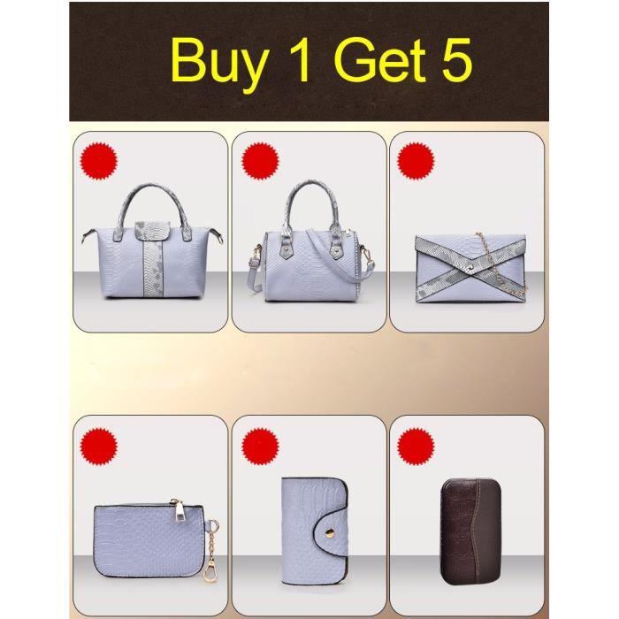 sac à main 6pcs Set Femmes de luxe en cuir PU Serpentine Femmes Sacs CÉLÈBRE Marque Composite Sacs dames -2680
