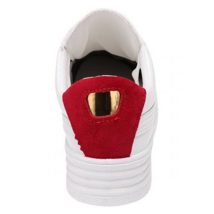 Flatform Sneakers Lacez Patchwork Round Toe