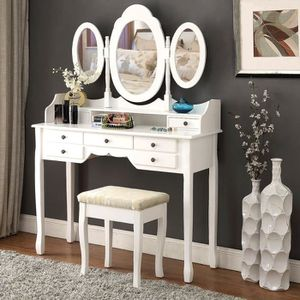 coiffeuse 3 miroirs achat vente coiffeuse 3 miroirs pas cher cdiscount. Black Bedroom Furniture Sets. Home Design Ideas
