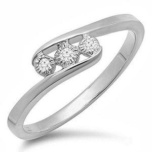 BAGUE - ANNEAU Bague Femme Diamants 0.05 ct  Argent Fin 925-1000