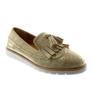 Angkorly - Chaussure Mode Mocassin slip-on semelle basket femme frange pom-pom perforée Talon plat 2.5 CM - Gris - 18-17 T 36 BgfNtbo