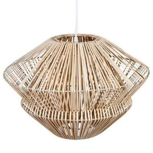 LUSTRE ET SUSPENSION Suspension en rotin coloris beige - Dim : H30 x D4