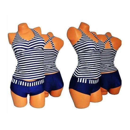 8de3042423 MAILLOT DE BAIN TANKINI 2 PIECES SHORTY TOP MARINIERE BLEU MARINE BLANC  BLEU BLANC - Achat / Vente maillot de bain - Soldes d'été Cdiscount