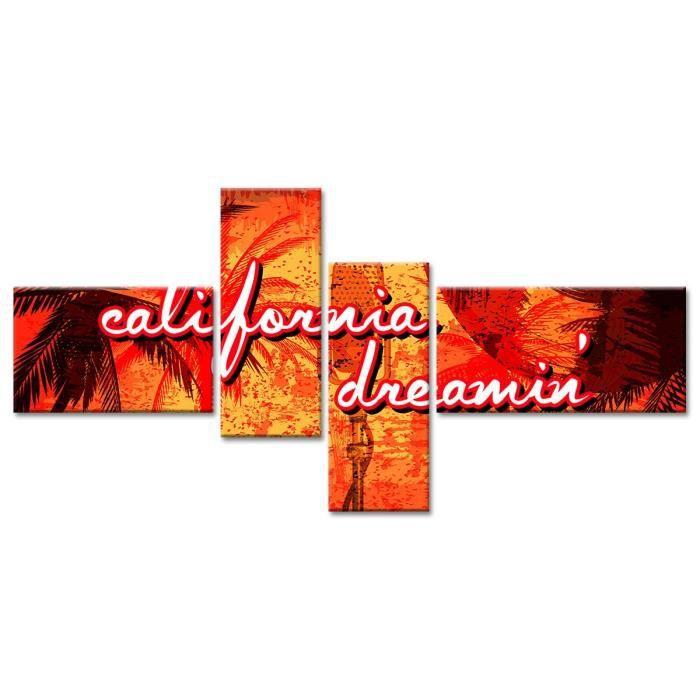Thème : Pas de thème - Tableau Déco Vintage California Dream - 130x65 cm - OrangeTABLEAU - TOILE