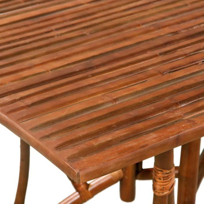 KKmaison Table de Jardin en Bambou Rectangulaire pour Salon, Jardin, Salle  à Manger 115x70x75cm Marron