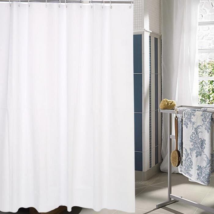 Épaississe le rideau en douche imperméable blanc pur de salle de ...