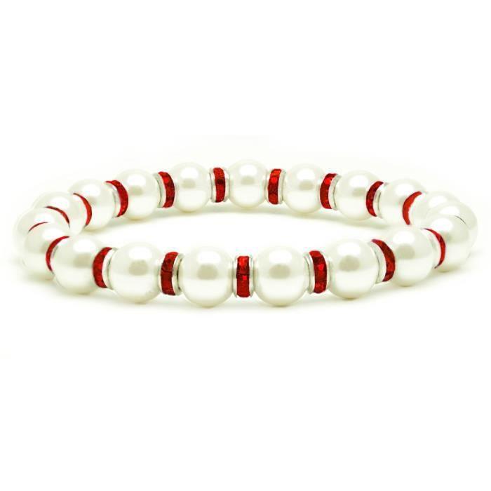 Hématite magnétique Femmes Blanc Tuchi Bracelet Simulé Pearl, 7.5 BQO9C